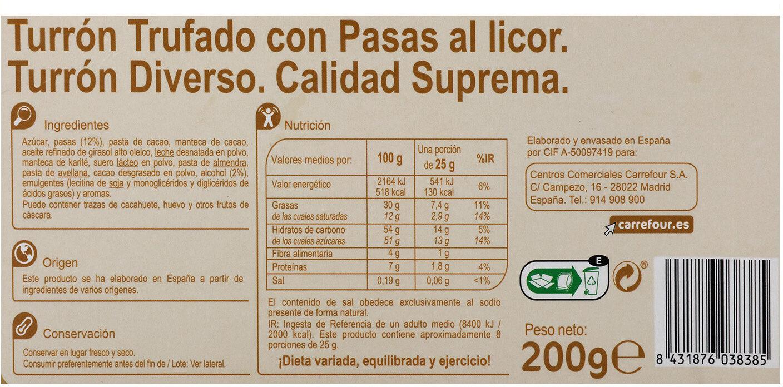 Turrón trufado con pasas al licor - Información nutricional - es