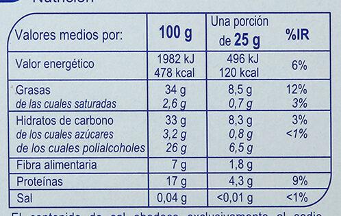 Turrón crema de almendras sin azúcar - Informations nutritionnelles - es