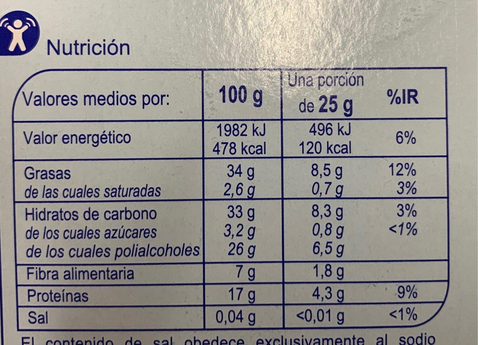 Turrón crema de Almendras - Información nutricional