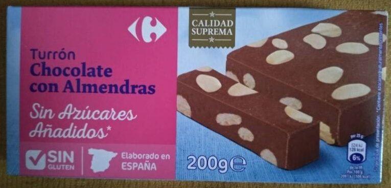 Turrón chocolate con almendras sin azúcares añadidos - Producto