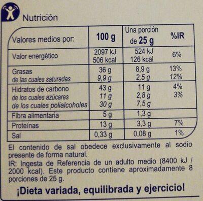 Turrón chocolate con almendras sin azúcares añadidos - Información nutricional