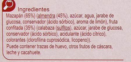 Turrón mazapan fruta - Ingredientes - es