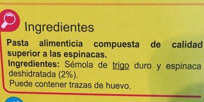Cintas nido espinaca - Ingredientes
