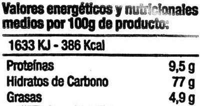 Rosquillas - Informació nutricional - es