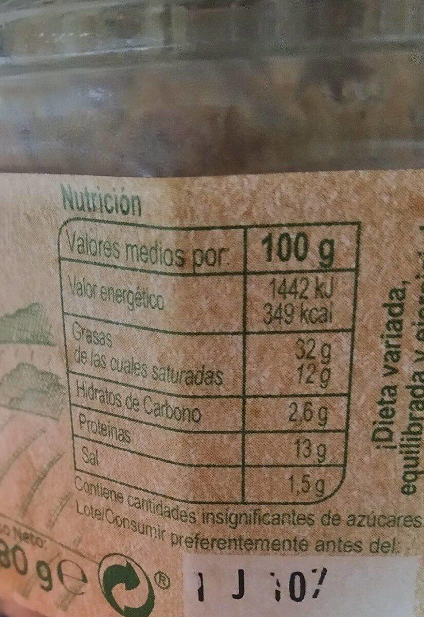 Paté del campo - Información nutricional