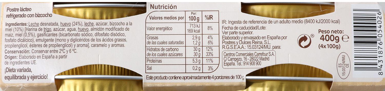 Flan hu/biz/miel - Información nutricional - es