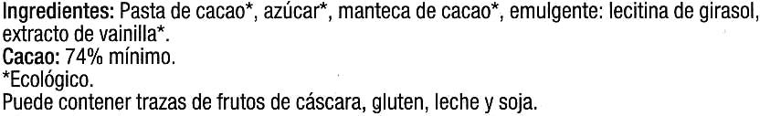 Tableta de chocolate negro 74% cacao - Ingredientes
