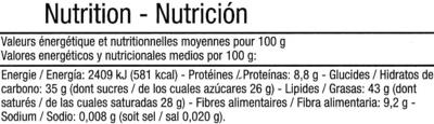 Tableta de chocolate negro 74% cacao - Información nutricional