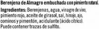 Berenjenas encurtidas embuchadas Origen Almagro - Ingredientes