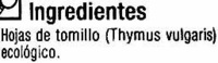 Tomillo seco molido - Ingredients