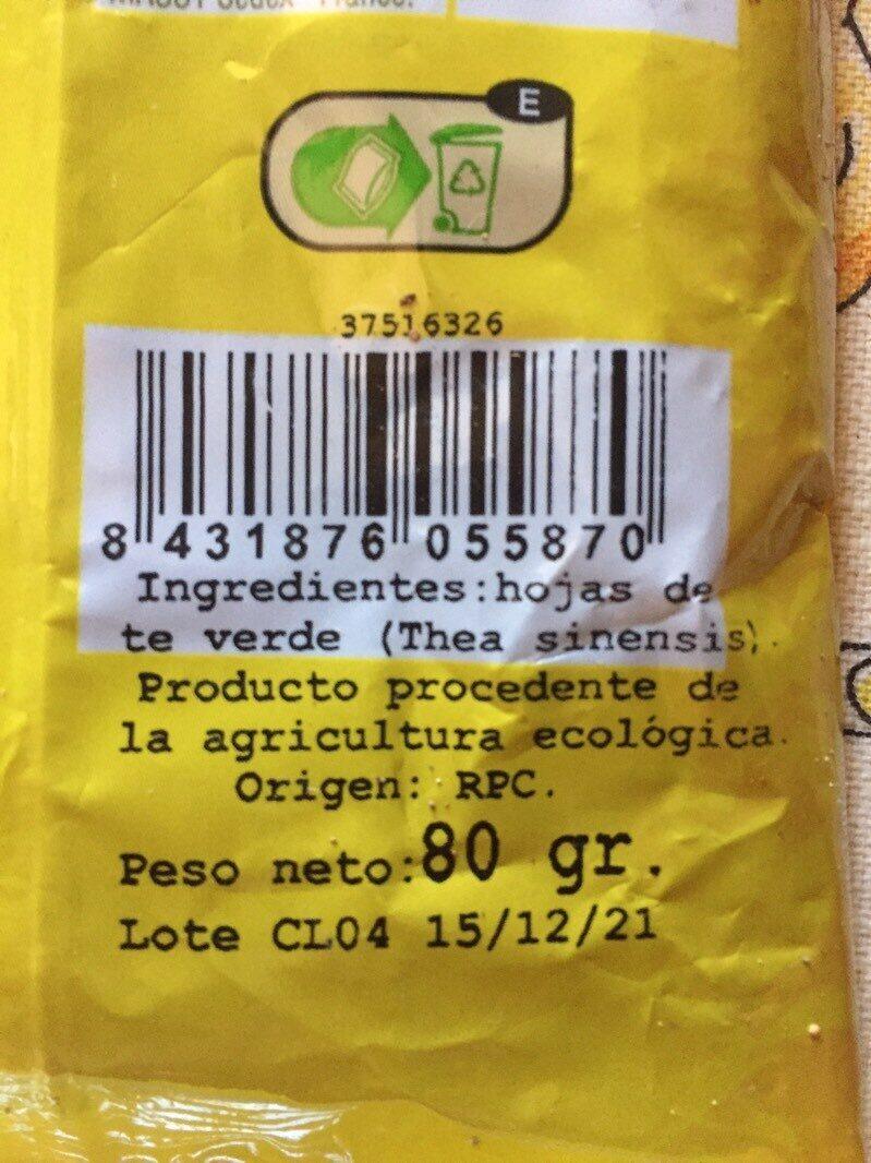 infusion te verde - Ingrediënten