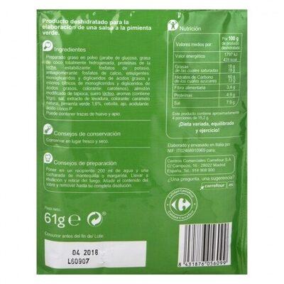 Salsa pimienta verde - Informations nutritionnelles - es