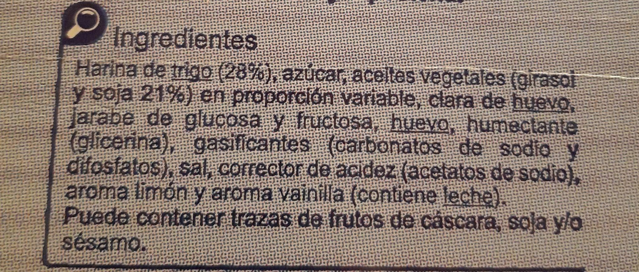 Magdalenas cuadradas - Ingredientes - es