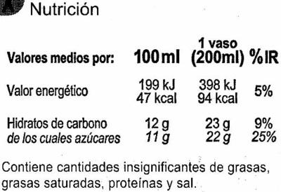 Zumo de manzana exprimido refrigerado - Información nutricional - es
