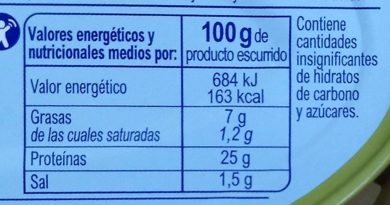 Bonito del Norte (en aceite de oliva virgen extra) - Información nutricional