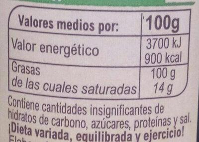 Huile d'olive extra vierge - Información nutricional
