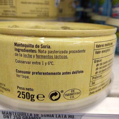 Mantequilla de Soria - Ingredients