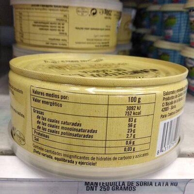 Mantequilla de Soria - Informació nutricional