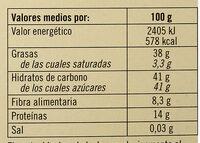 Torta turrón de Alicante - Información nutricional - es