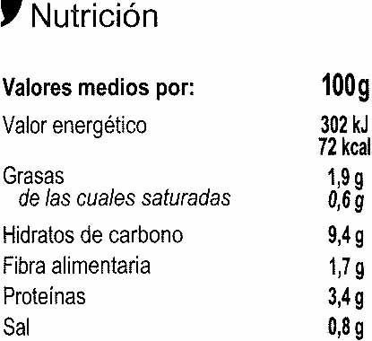 Lentejas con verduras - Información nutricional