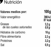 Garbanzos con verduras - Información nutricional