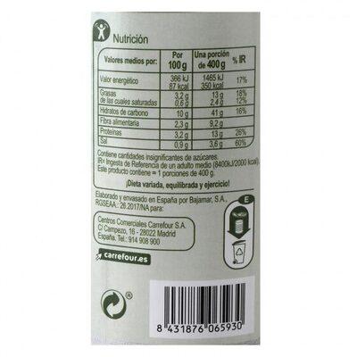 Garbanzo c/verdura - Información nutricional