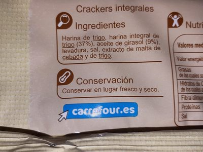 Crackers integrales - Ingredientes