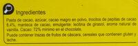 Chocolate negro 72% - Ingredientes - es