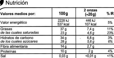 Chocolate negro 72% - Información nutricional