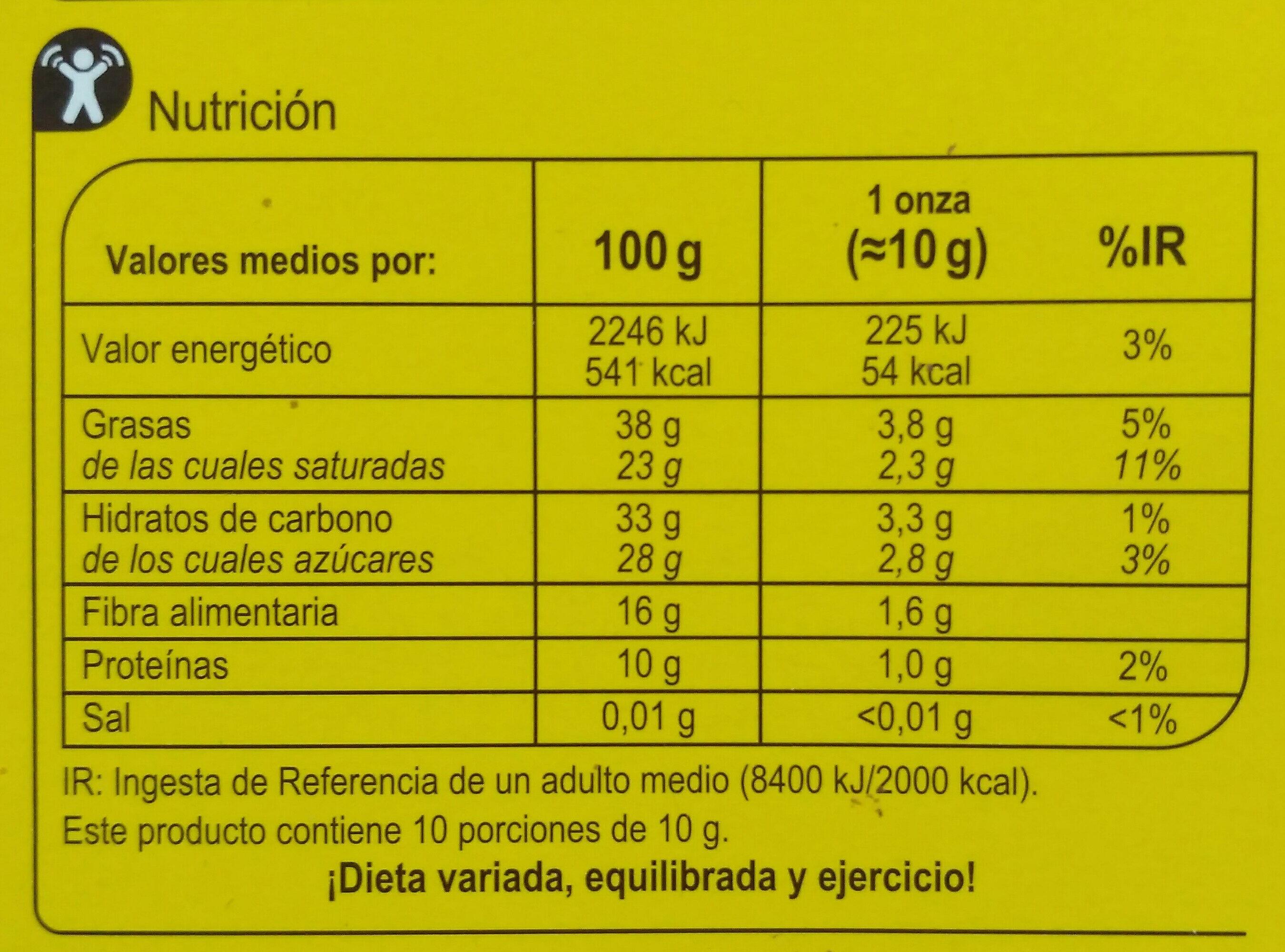 Chocolate negro 72% - Información nutricional - es