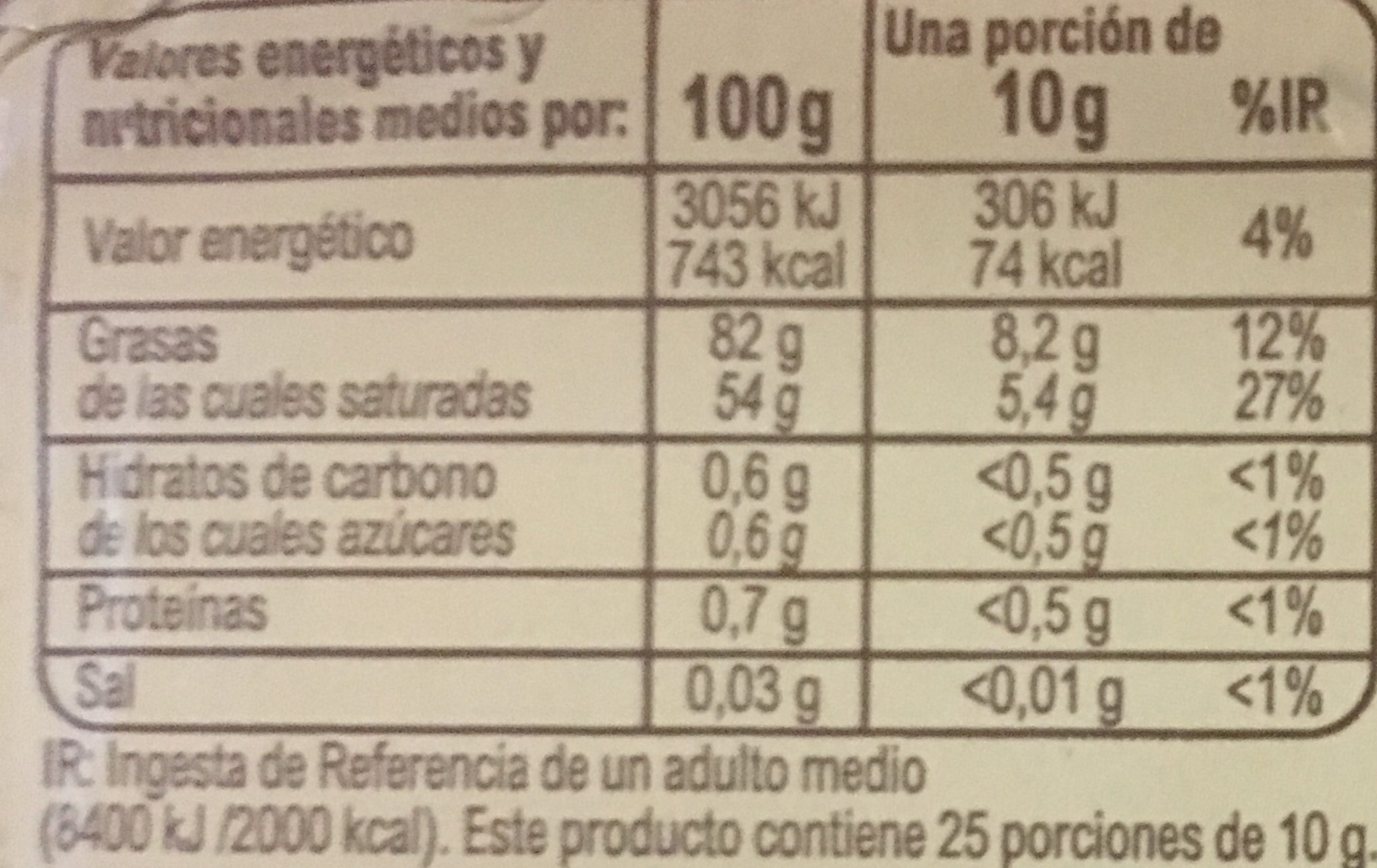 Mantequilla Carrefour BIO - Nutrition facts