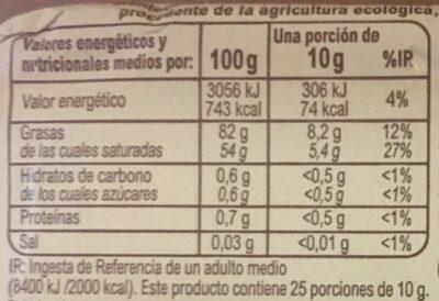Mantequilla Carrefour BIO - Informació nutricional