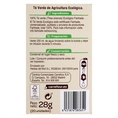 Té verde - Información nutricional - es
