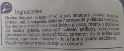 Pan de Molde integraI - Ingrédients