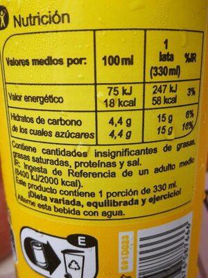 Tónica - Nutrition facts - es