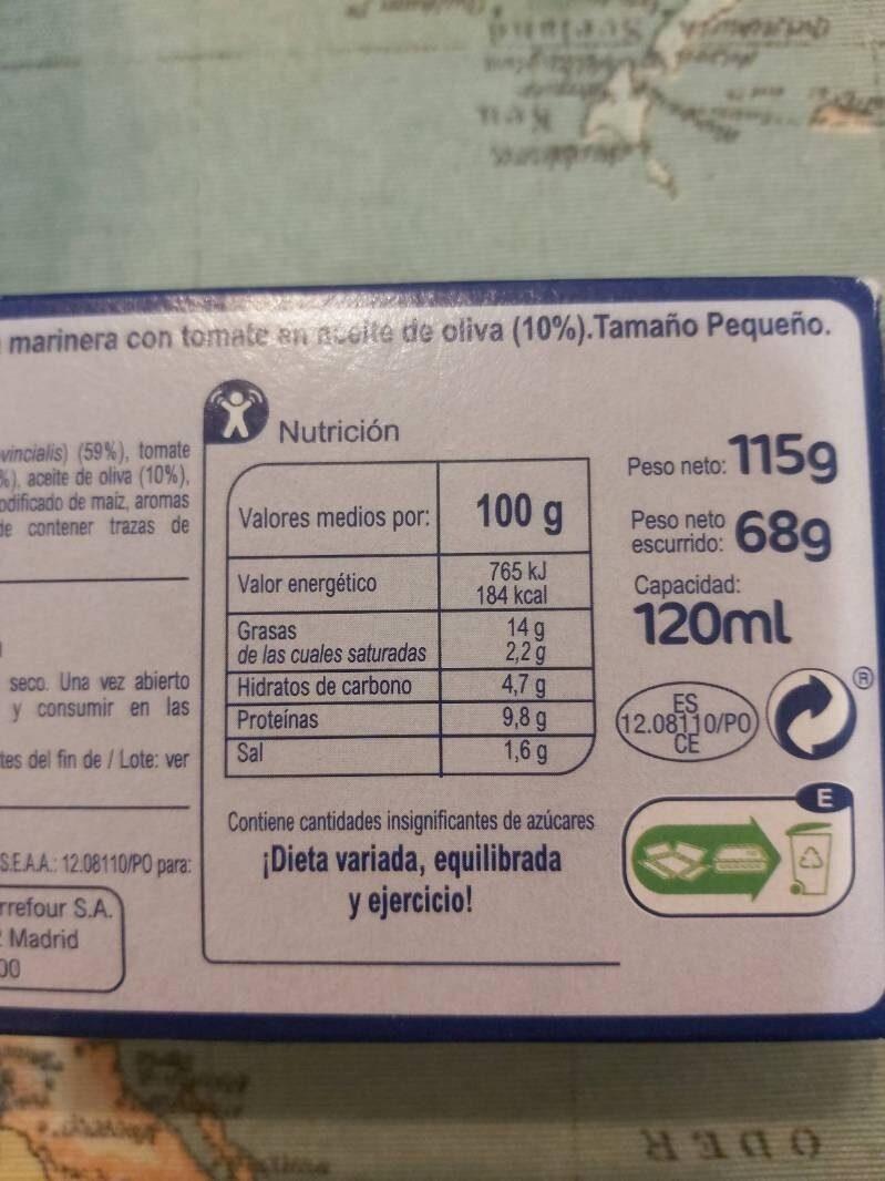 Mejillón salsa marinera con tomate 14-18 - Informations nutritionnelles - es
