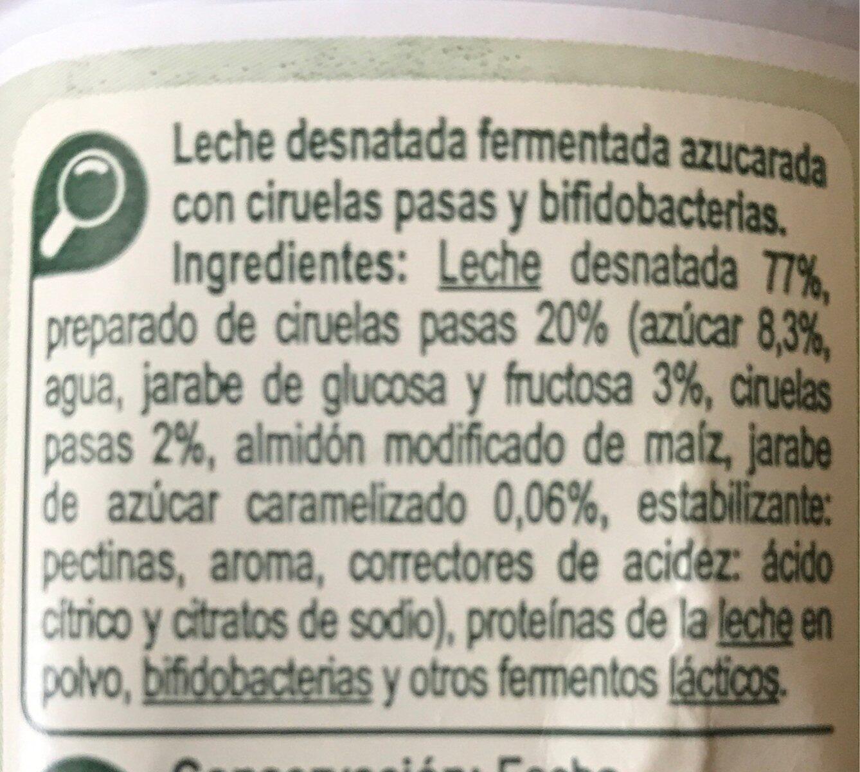 Bifidus con trozos de ciruelas pasas - Ingredients