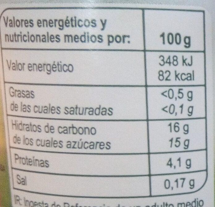 Bifidus con trozos de ciruelas pasas - Informació nutricional
