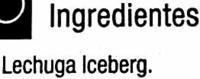 Lechuga Variedad Iceberg - Ingredients