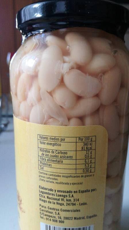 alubia riñón cocina - Nutrition facts