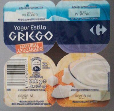 Yogur estilo griego natural azucarado - Producte