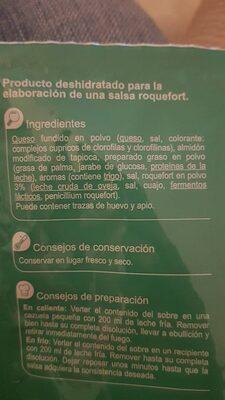Salsa roquef - Informations nutritionnelles