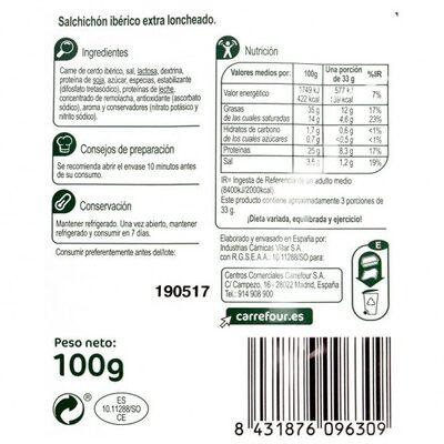 Salchichón ibérico lonchas - Informació nutricional