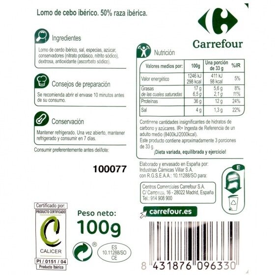 Lomo Iberico Loncheado - Nutrition facts - es