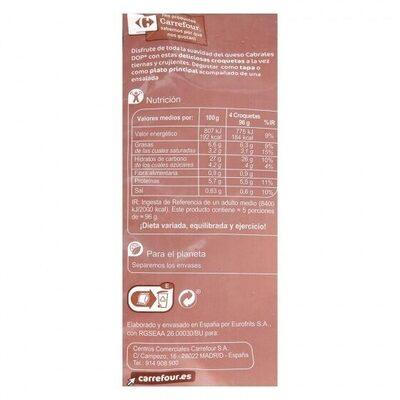 Croquetas cabrales - Informations nutritionnelles - es