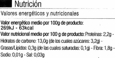 Parrillada de verduras congelada - Informació nutricional