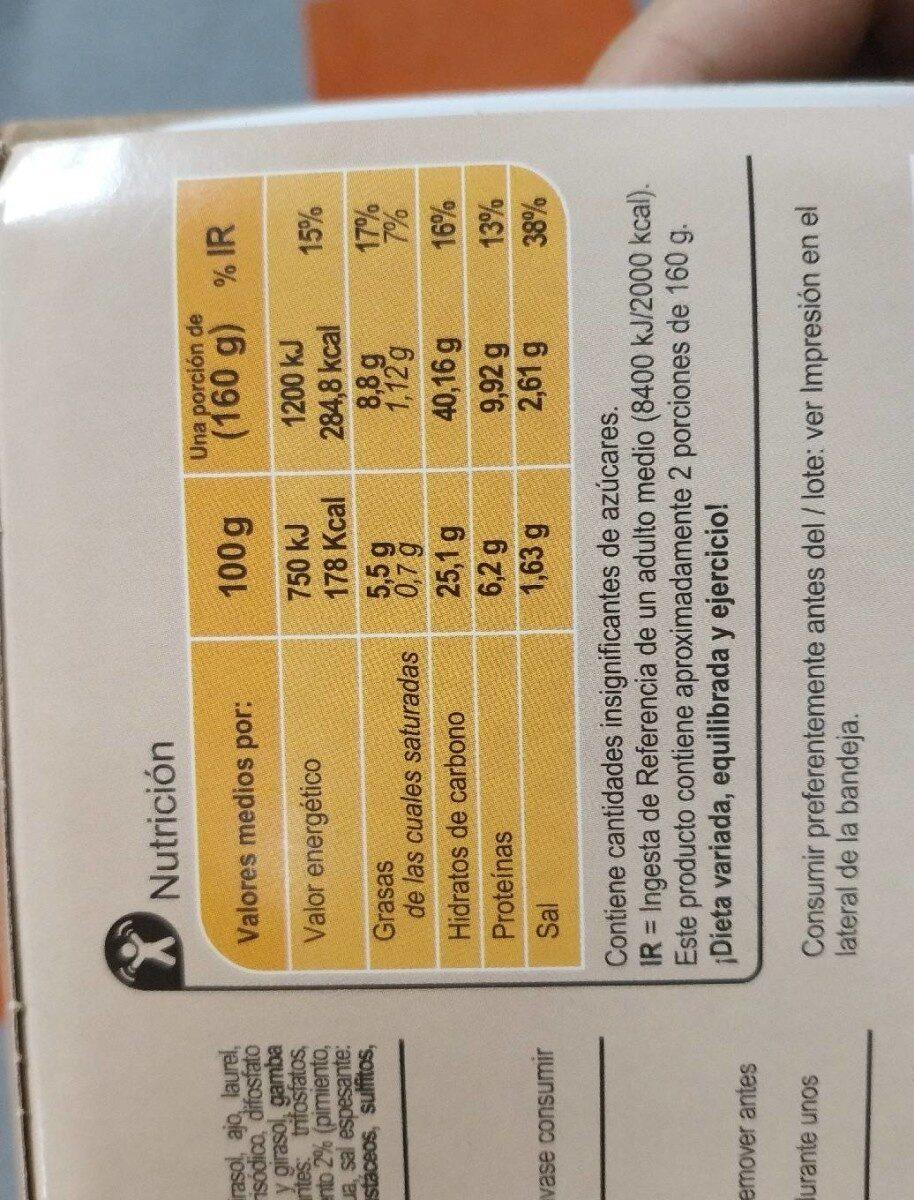 Arroz negro - Informació nutricional - es
