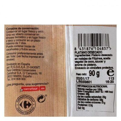 Plátano desecado - Información nutricional - es