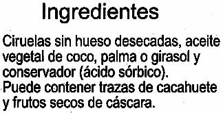"Ciruelas pasas sin hueso ""Carrefour"" - Ingredientes"