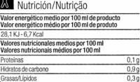 Caldo verduras - Información nutricional - es